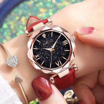 Fashion Women Watches 2019 Best Sell Star Sky Dial Clock Luxury Rose Gold Womens Bracelet Quartz Wrist Dropshipping
