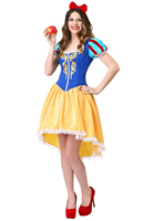 Cartoon Snow White Fancy Dress Masquerade Court Halloween Cosplay Costume for Women Wear Adults Fantasia Carnival Party