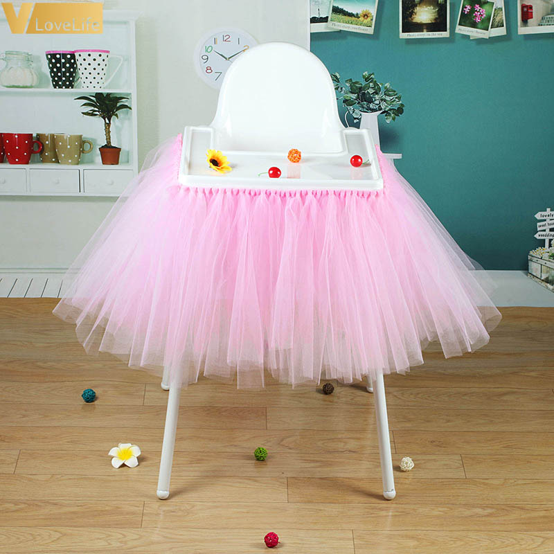 High Baby Shower Tutu Tulle Table Skirts 100x35cm Birthday Home Textile For Table Skirting Chair Home Textiles Party Supplies