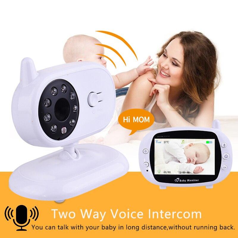 Güvenlik ve Koruma'ten Bebek Monitörleri'de 3.5 inç Video kablosuz bebek izleme monitörü VOX güvenlik kamera dadı IR gece görüş ses çağrı Babyphone sıcaklık izleme ile title=