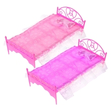 Pink Mini Bed With Pillow For Baby Dolls Dollhouse Bedroom Furniture Toy  E65D цена и фото