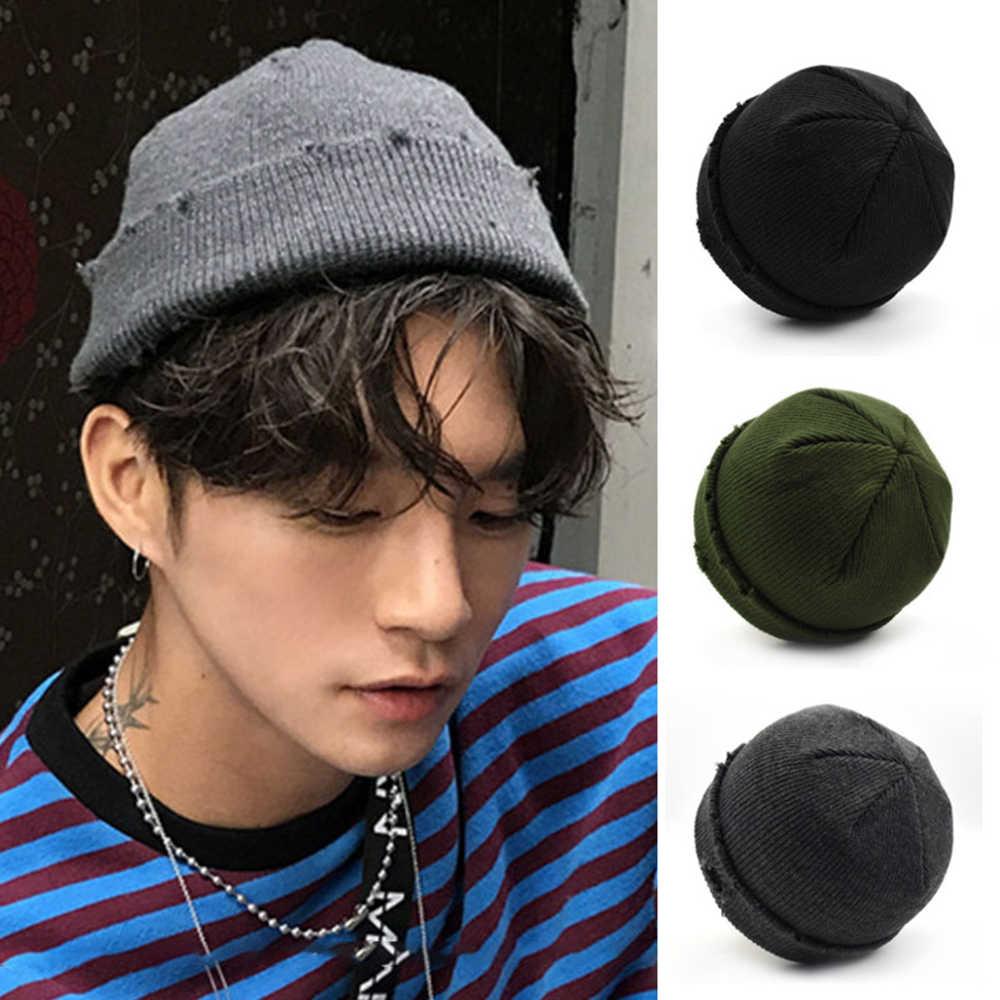 Gorro de invierno cálido para hombre, de Color sólido, versión corta, de lana, sombrero tejido a la moda, gorra de calavera Unisex