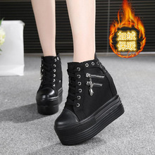 WGZNYN 2020 NEW Hidden Heels Platform Sneakers Women Breathable Air Wedge Sock Shoes Woman Casual Ladies Boots Zapatos Mujer W5