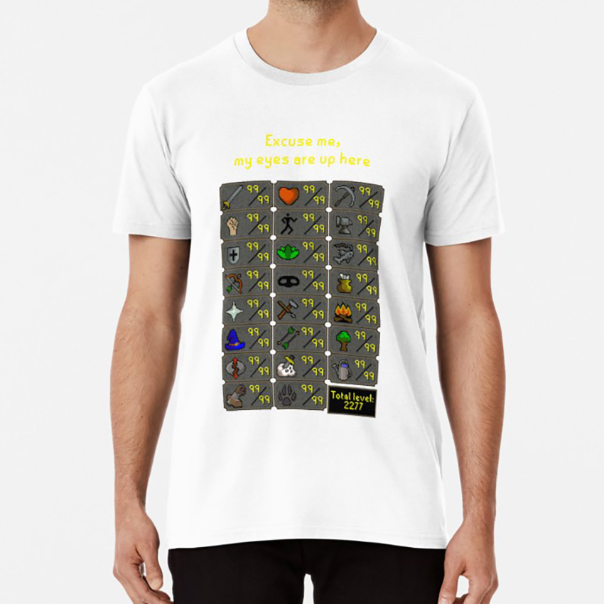 Excuse Me , My Eyes Are Up Here T Shirt Runescape Rune Scape Gaming Game Online Mmorpg Osrs Oldschool Zezima image