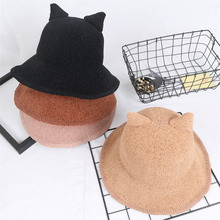 Cute Cat Ear Bucket Hats Korea Women Spring Summer Travel Sun Visors Cotton Knitted Collapsible Dome Caps Fashion Hat All Match