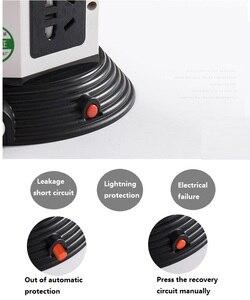 Image 4 - Башня Мощность полосы (цифровое управление) Вертикальная Розетка 7/11/15 розетка с двумя USB розеток Удлинительный шнур светодиодный освещения