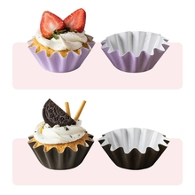 50pcs Wave Muffin Cupcake Liner Paper Coated  Cups Cake Wrappers Baking Box Case Tea Party Great  For cake breads dessert