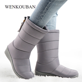 Waterproof Winter Boots Female Mid-Calf Down Boots Ladies Snow Wedge Rubber Booties Causal Woman Warm Plush Botas Mujer 2019