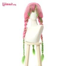 L e mail perücke Dämon Slayer Kanroji Mitsuri Cosplay Perücken Kimetsu keine Yaiba Lange Rosa Mix Grün Braid Cosplay Perücke synthetische Haar