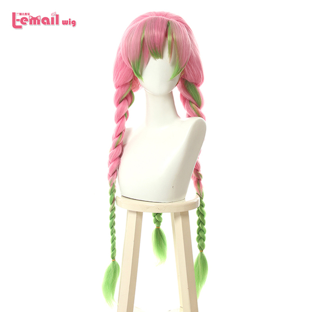 L email perruque de Cosplay Kanroji Mitsuri Demon Slayer, perruques de Cosplay synthétiques longues en tresses vertes mélangées de rose et de rose