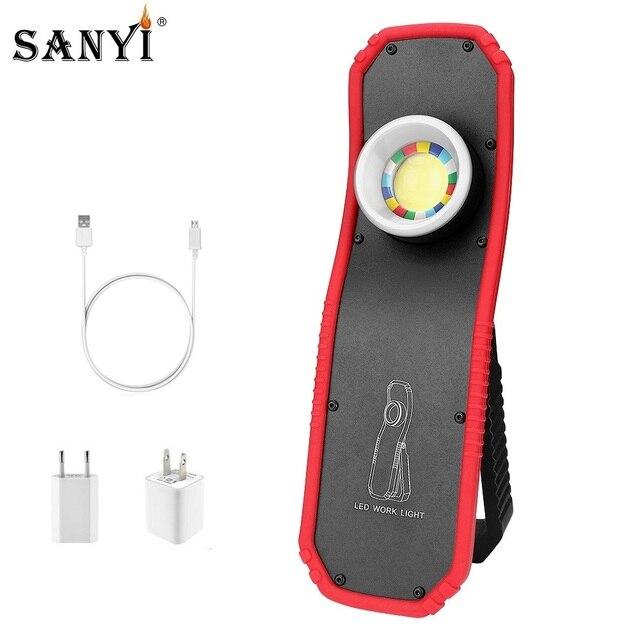 Lanterna led magnética recarregável usb, 2 modos, cob, luz de trabalho portátil, gancho, pendurada, trabalho, luz externa, acampamento