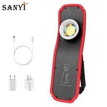 Linterna LED magnético COB de 2 modos, linterna recargable por USB, luz de trabajo portátil, linterna colgante para acampar al aire libre