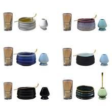 Juego de té de alta calidad, juego de Matcha, tazón de mezcla, cerámica de bambú, japonés, herramienta de Ceremonia de té, Kit de cuchara de combinación, regalo