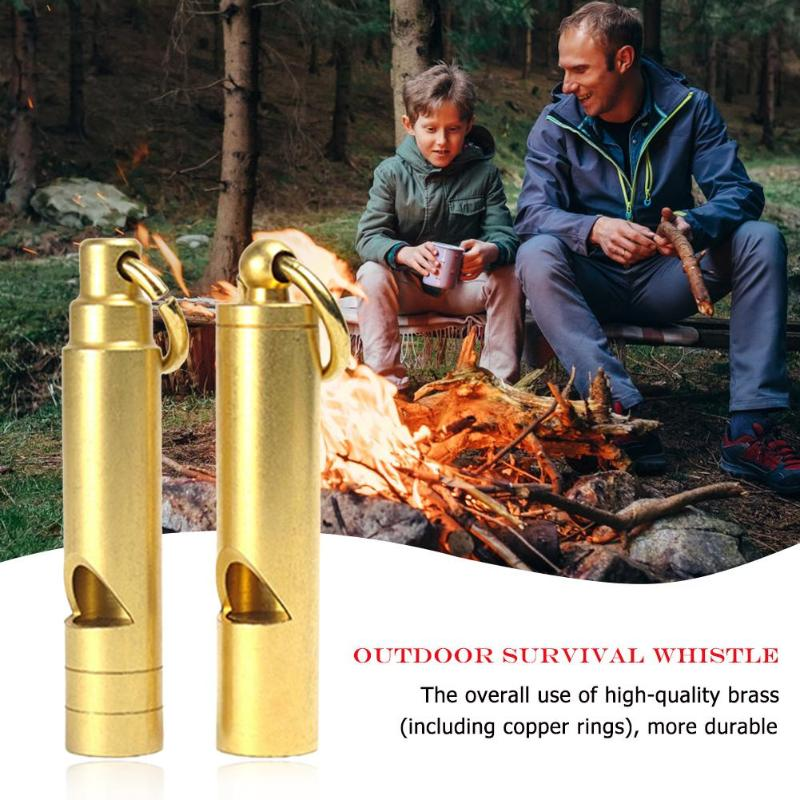 Portable Mini Brass Whistle Keyring Keychain For Outdoor Emergency Survival Emergency Whistling Camping Tool Supplies