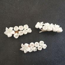 Заколка для волос ручной работы из сплава и керамики в форме