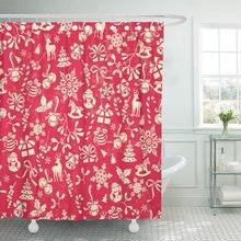 Mosaico rojo de Navidad gran opción para patrón Vintage Cortina de ducha poliéster 72x78 pulgadas Set con ganchos