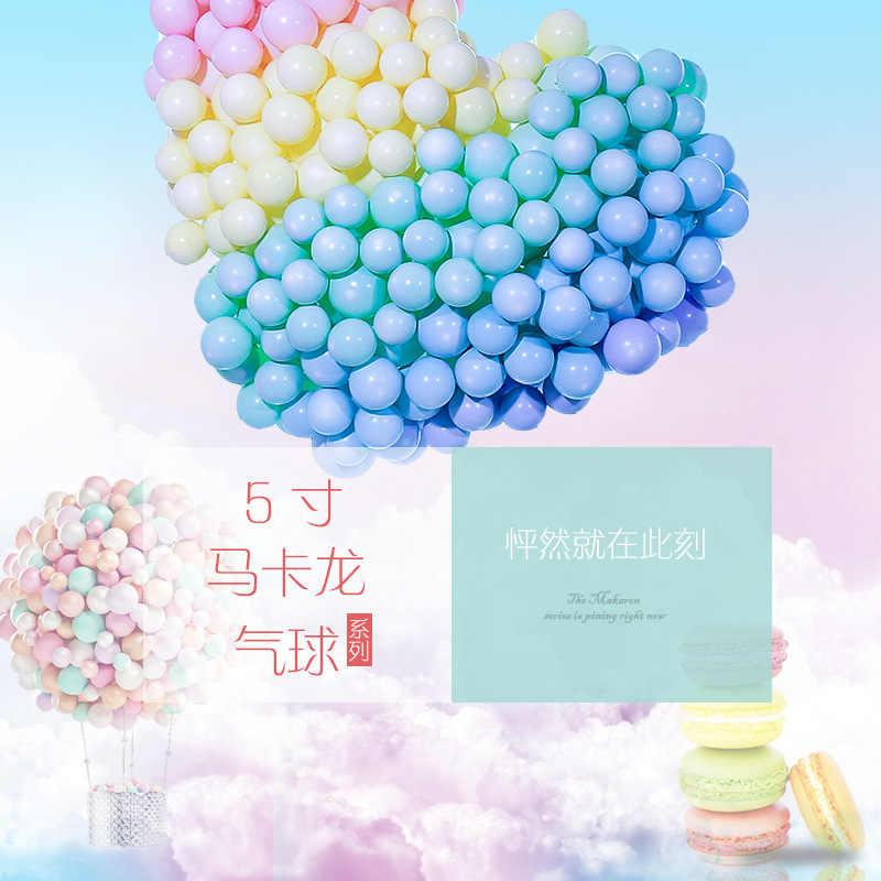 5 นิ้ว Macarons บอลลูนสุทธิสีแดงบอลลูนวันเกิดสีชมพูวงกลมแต่งงานบอลลูนตกแต่งโซ่ Macarons บอลลูน