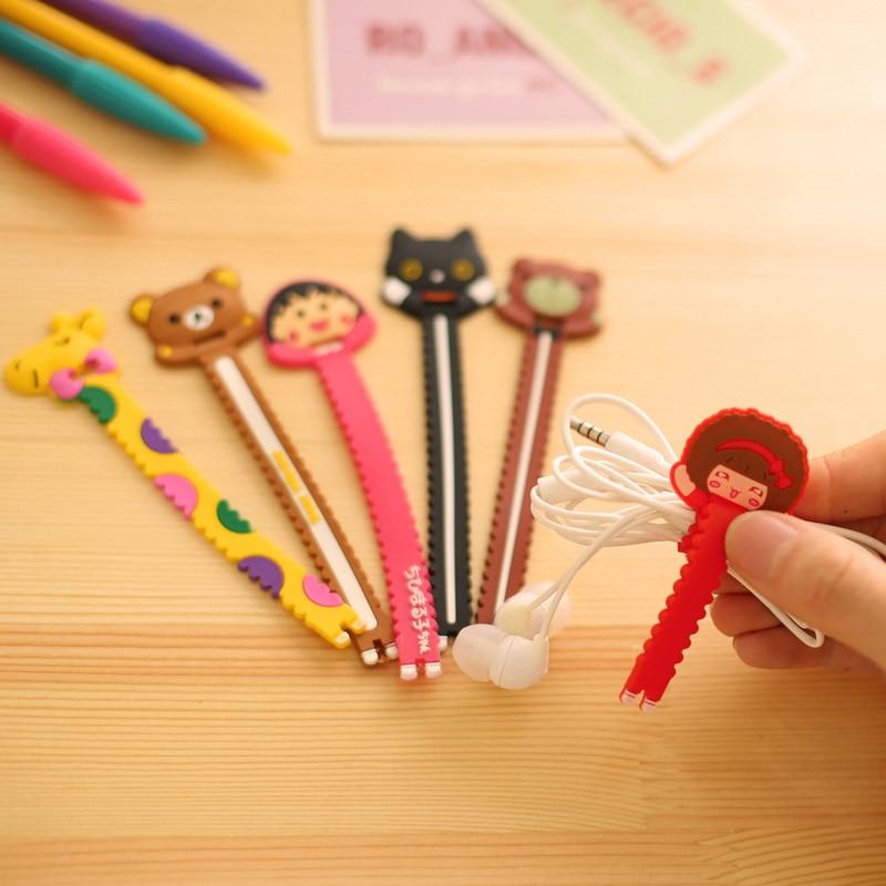 10 Psc/lot Cartoon Kawaii Animal Cat Bear Headphone Winder Cord Wrap Organizer Wire Holder Home Office Bag Storage Sealing Clips