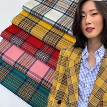 Short skirt Yarn-Dyed Plaid Fabric Spring and Autumn Jacket Suit Suit Big Plaid Fabric Orange-Based Color Plaid Breathable plaid