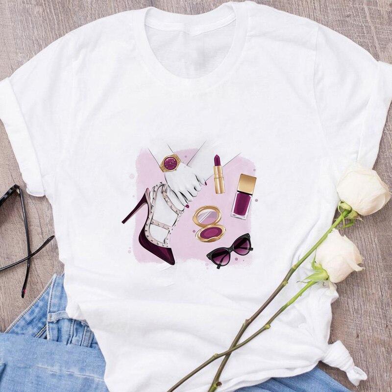 Summer 2019 Vogue Pink High Heels Perfume Flowers Bag Print New T Shirt Women Slim Trendy Hipster Harajuk Tops Tee Shirt Femme