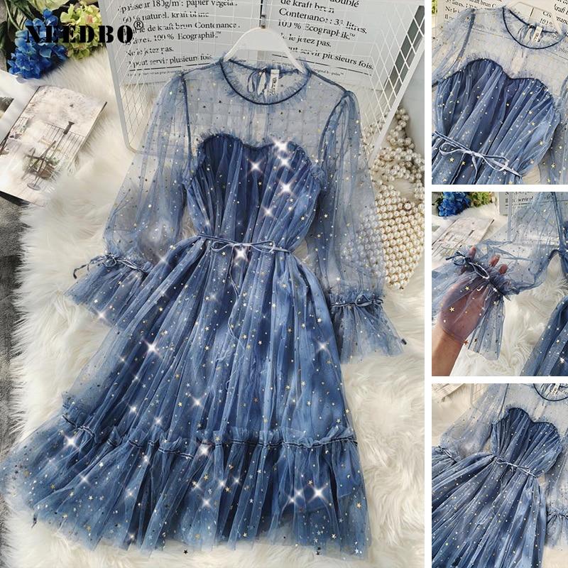 NEEDBO Sexy Dress Vestidos Star Sequined Mesh Shiny Fairy Dress Women Elegant Bling Gauze Princess Loose A-line Puff Dresses Rob