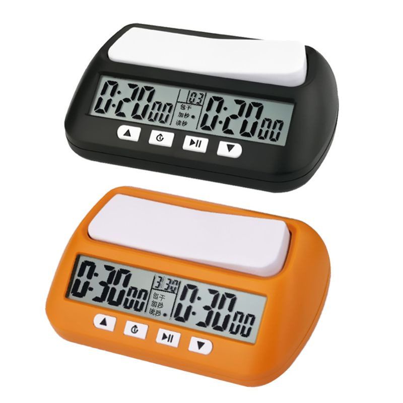 Unisex Professional Chess Clock Compact Digital Watch Count Up Down Timer Electronic Board Game Bonus Competition Hour Meter