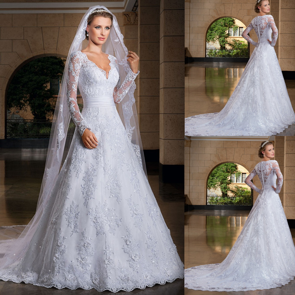 Vestido De Noiva 2018 Sexy See Through Back Lace Appliques Bridal Gown With Sleeves V Neck Casamento Mother Of The Bride Dresses
