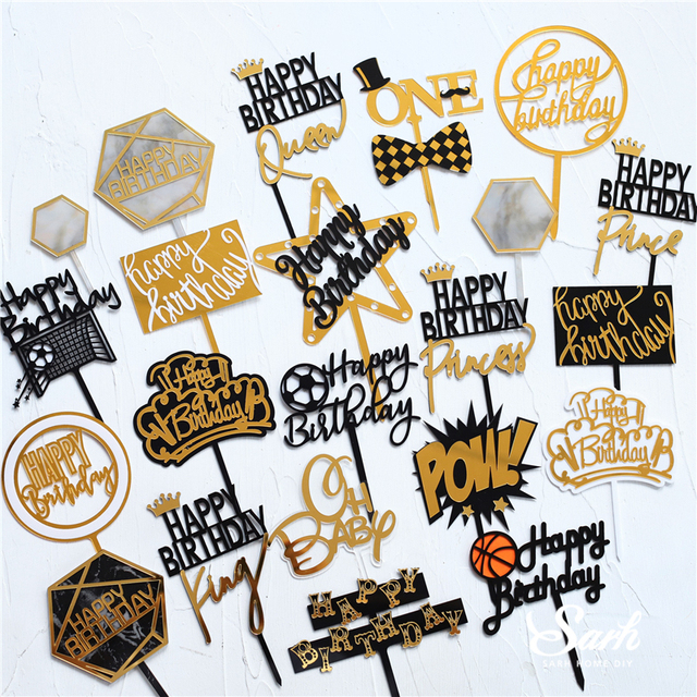 Gold Silver Acrylic Heart Collection Happy Birthday Cake Topper Decoration Football Star Baking Suplies Wedding Party Love Gifts