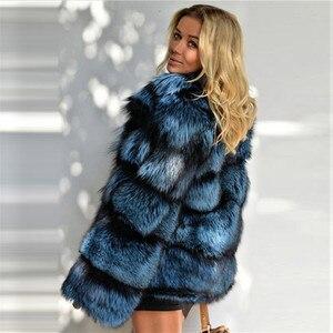 Image 3 - 2020 zimowa damska kurtka z prawdziwego futra lisów ze stójką z prawdziwej skóry naturalne srebrne futra lisa kurtka wysokiej jakości futrzany płaszcz