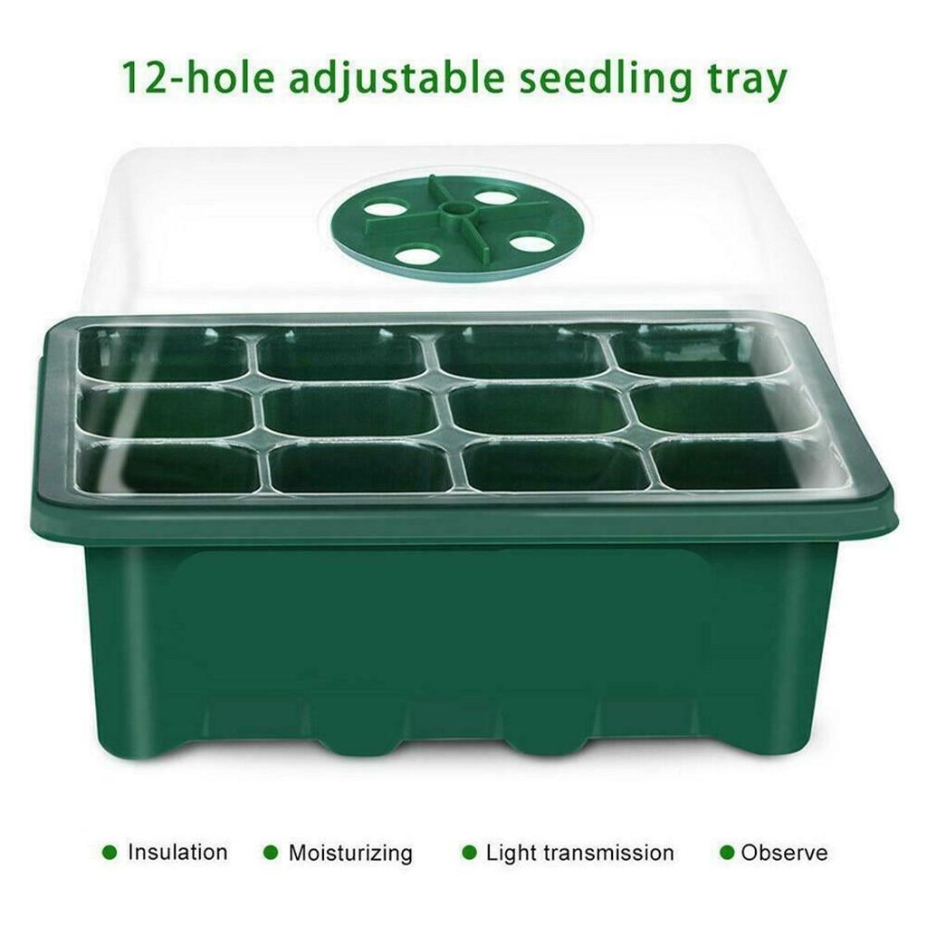 12 Hole Seedling Trays Seed Starter Starter Plant Flower Grow Box Propagation For Gardening Grow Starting Germination Box #25