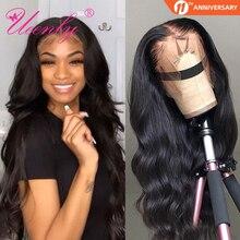 Парики UEENLY 13x4 из человеческих волос на сетке спереди, бразильские волнистые человеческие волосы, парики 360 на сетке спереди, парик с предвар...