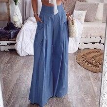 Leg-Pants Back-Zip-Pockets Long-Trousers Chic-Bottoms Streetwear Office Wide High-Waist