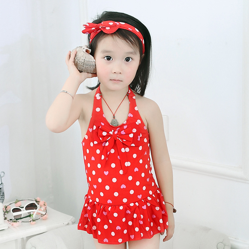15-60 Jin Cute Comfortable One-piece Triangle Underpants Big Boy Swimwear With Hair Band Swimsuit Nt171903