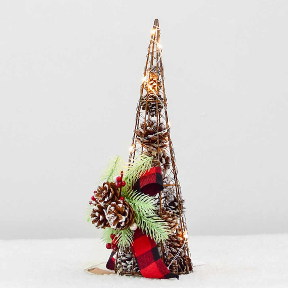 Сосна шишки с батарейками светодиодная елка со светом Свадьба Рождество дом Портативный фестиваль башня стол наружное украшение железо
