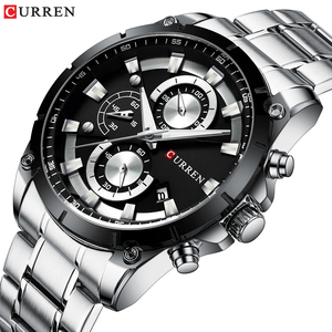 Image 2 - CURREN Top Brand Luxury Men Watches Sporty Stainless Steel Band Chronograph Quartz Wristwatch with Auto Date Relogio Masculino