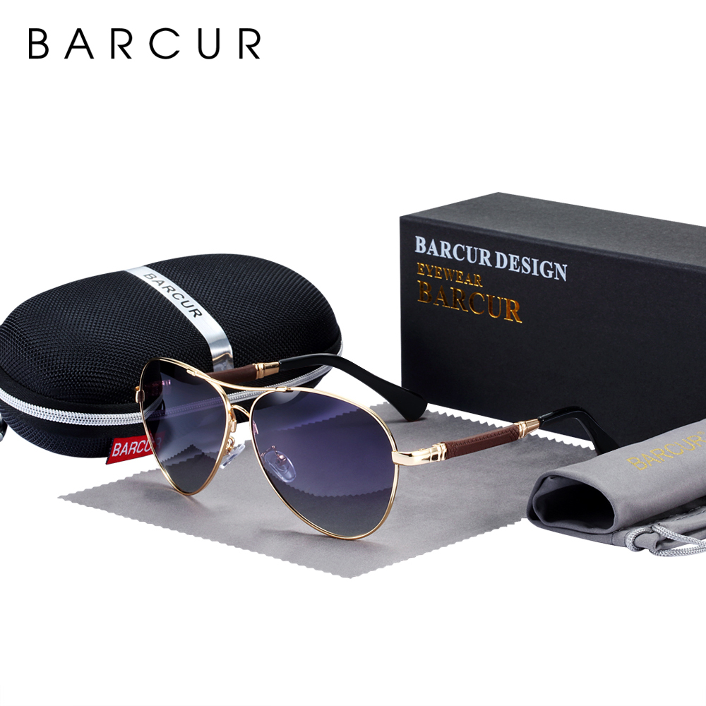 BARCUR High Quality TR90 Sunglasses Polarized Men's Sun Glasses Women Pilot UV400 Mirror Oculos De Sol
