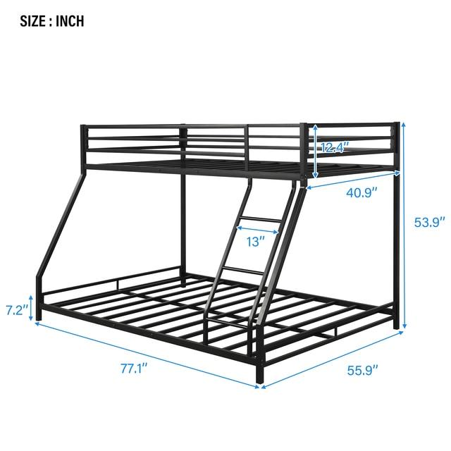 Metal Floor Bunkbed - Twin Over Full Bunk Bed  2