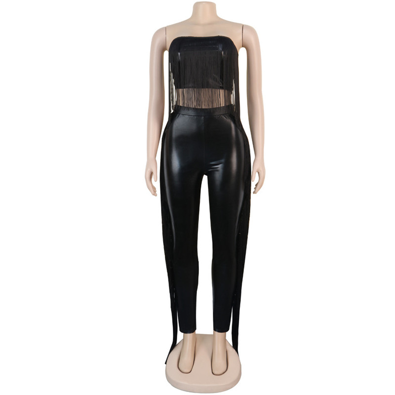 Sexy Two Piece Set Strapless Tassel Crop Top + Pu Pencil Pants Tracksuit Woman Matching Sets Outfits Clothing Plus Size S-XXL