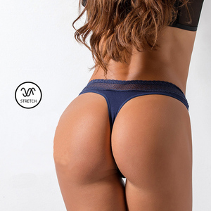 Image 3 - Lace Sexy Thongs Yoga Shorts Women Antibacterial Cotton Seamless Sports Thong Low Waist Sport Fitness Triangle Panties Underwear