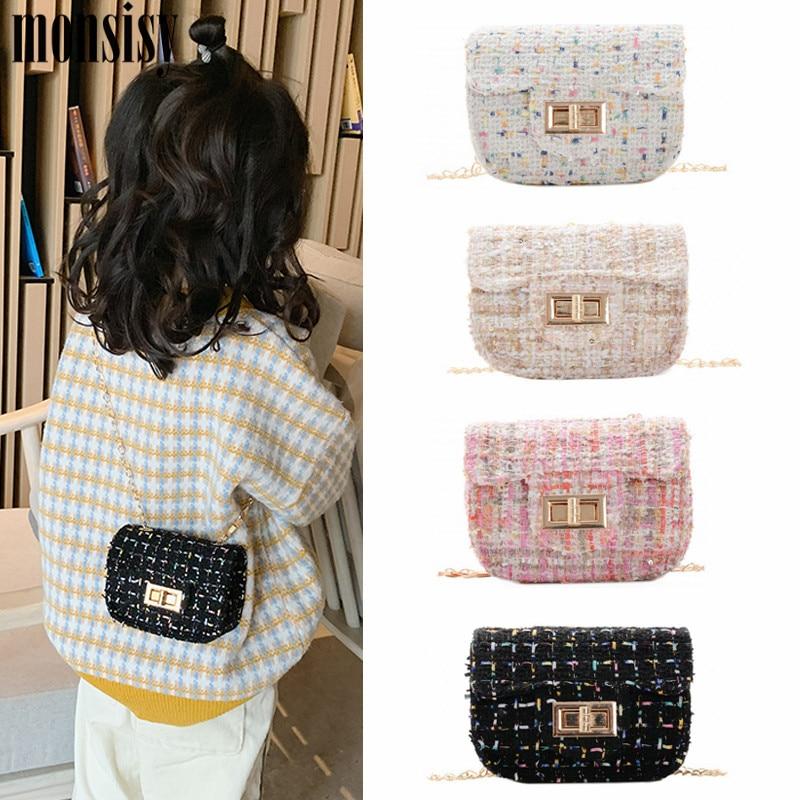 Monsisy Mini Bag For Girl Purse And Handbag Women Small Wallet Luxury Woolen Kid Crossbody Bag Children Coin Shoulder Bolsa Gift
