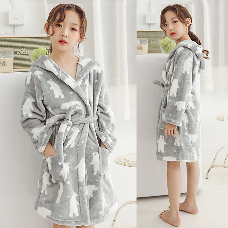 Children Bathrobes 4-12years Kids Robes Flannel Boys Girls Robes Cartoon Animal Hooded Bath Robes Baby Girl Pajamas Kids Clothes