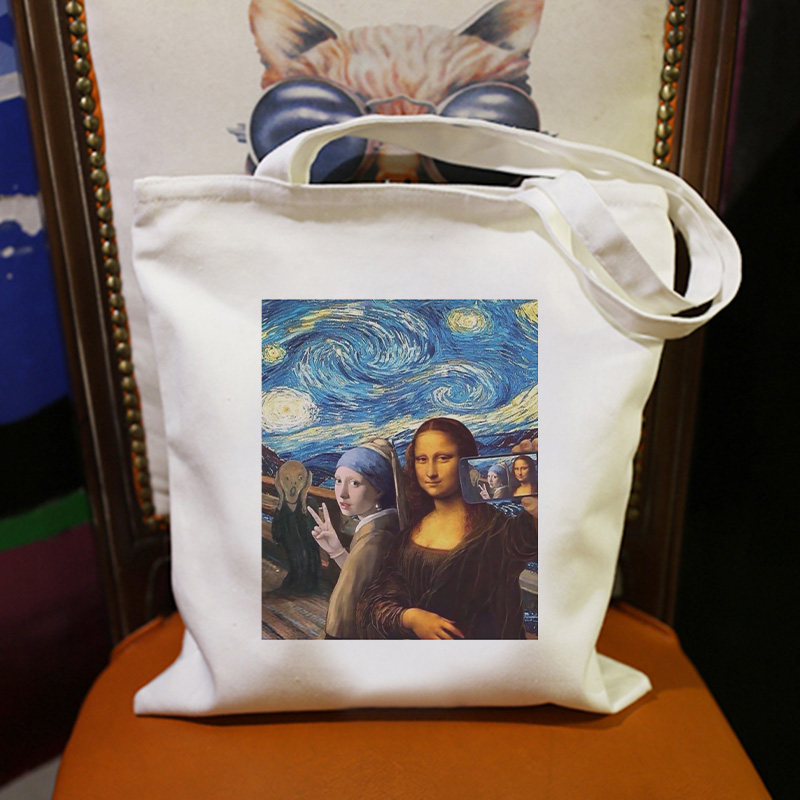Top Art Van Gogh Mona Lisa Painting Women Bag Fashion Harajuku Shoulder Canvas Bags Beauty Girl Backpack Handbag Casual Wallet