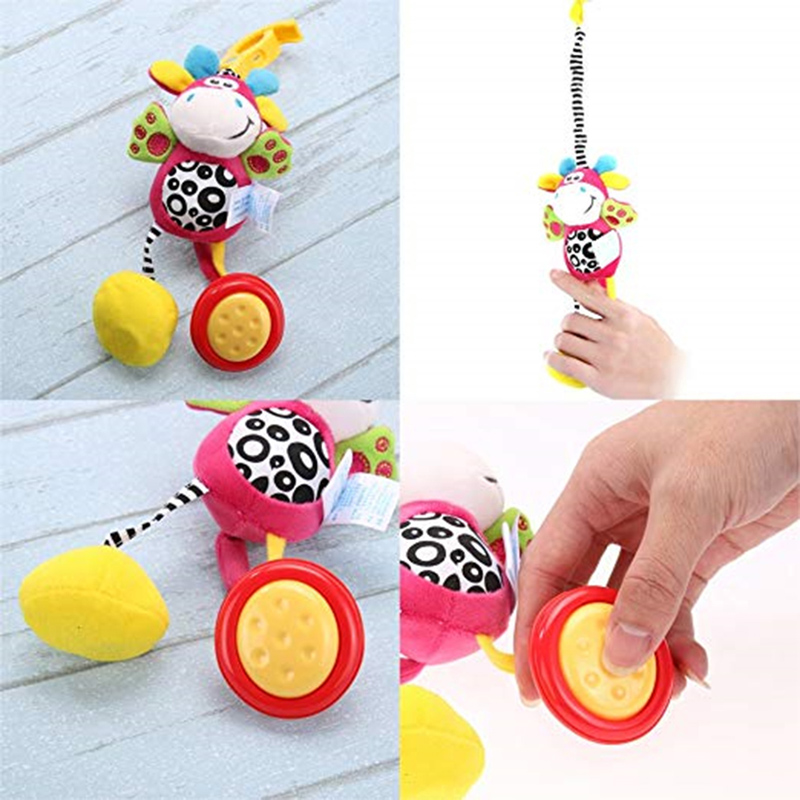 Hot Infant Toys Mobile Stroller Baby Plush Toy Bed Wind Chimes Rattles Clip Bell Animal Toy Baby Crib Bed Hanging Bells Toys