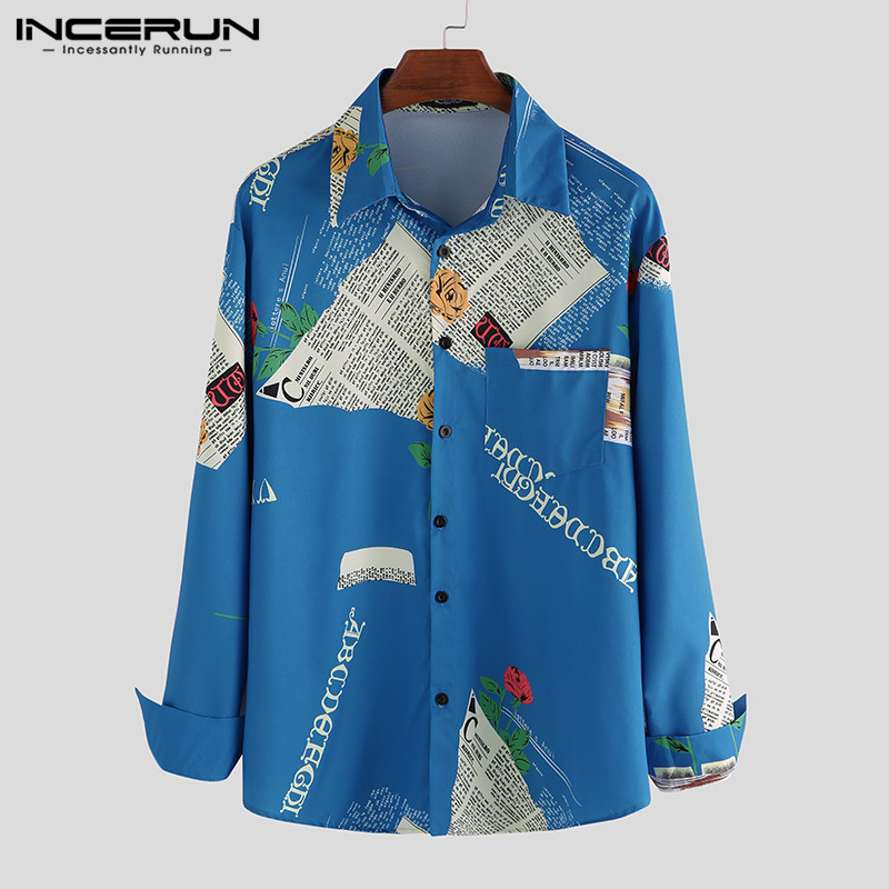 INCERUN Fashion Men Shirt Printed Breathable Long Sleeve 2020 Korean Blouse Casual Loose Lapel High Street Men Hawaiian Shirts