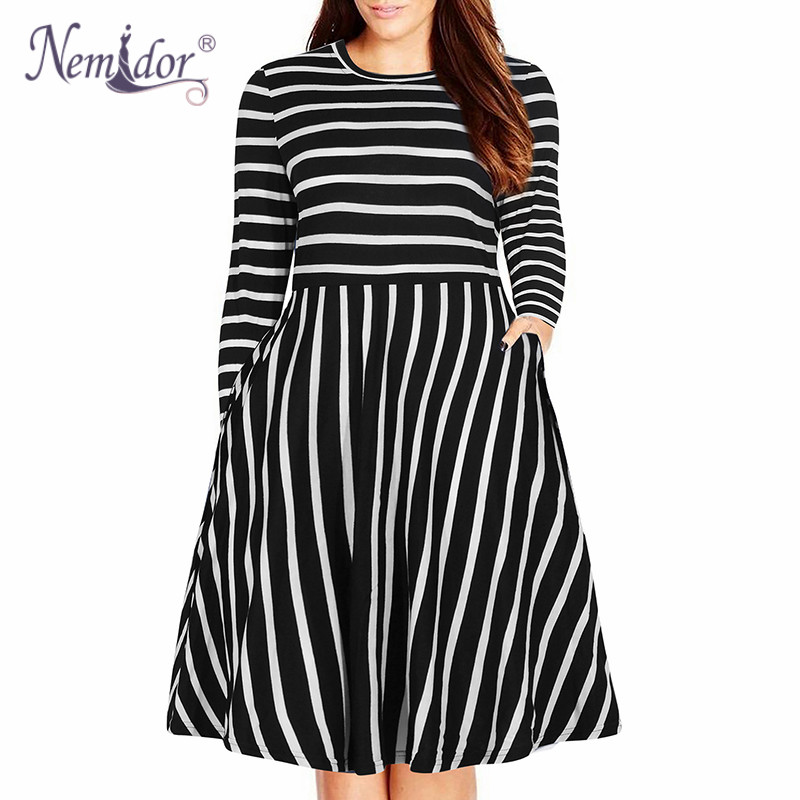 Nemidor Women's Round Neck Summer Casual Plus Size Fit and Flare Midi Dress with Pocket (3)