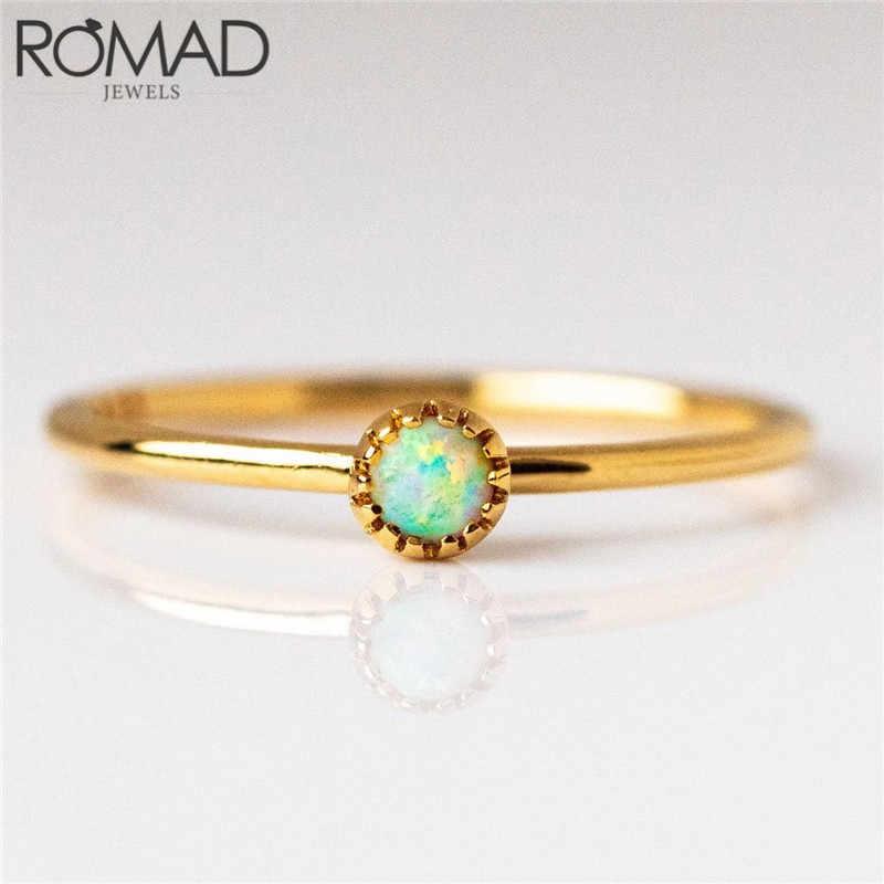 ROMAD Đơn Giản Dainty Opal cho Nữ, Nhẫn Nữ Nữ Cưới Đính Hôn Ngón Tay Nhẫn Trang Sức Thời Trang Vàng Sinh Tử Phù Xếp Chồng Vòng