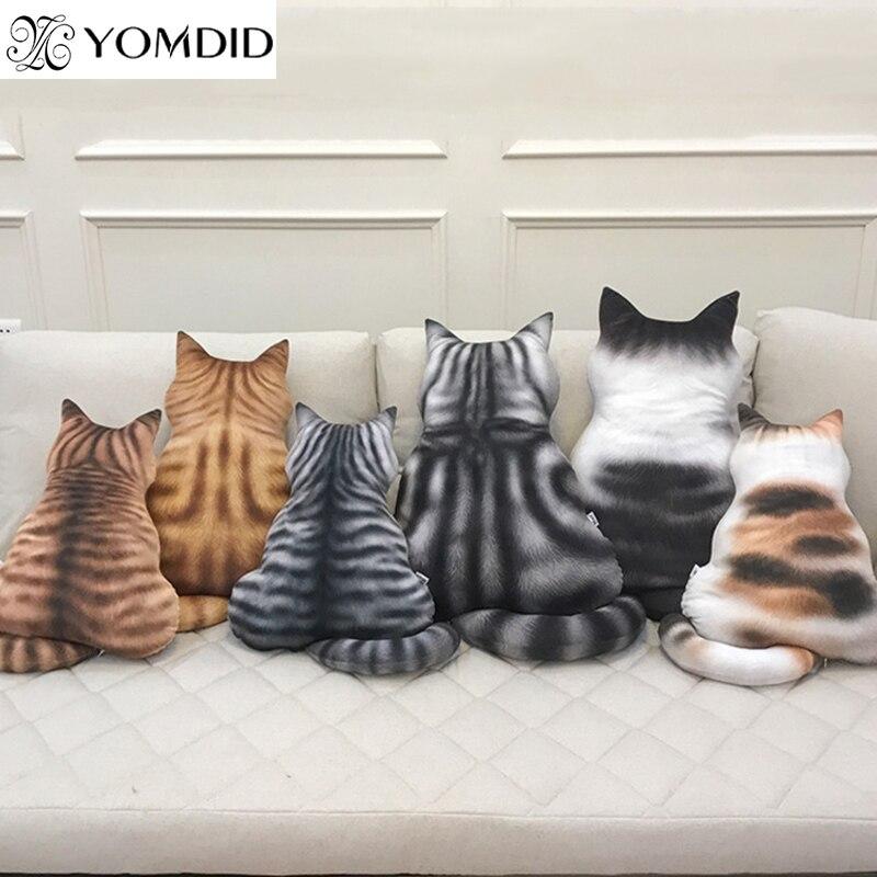 Strip Cat Shape Plush Cushions Pillow Back Shadow Comfortable Cushion Cat Shape Filled Animal Cushion Kids Cute Gift Pillow Toys