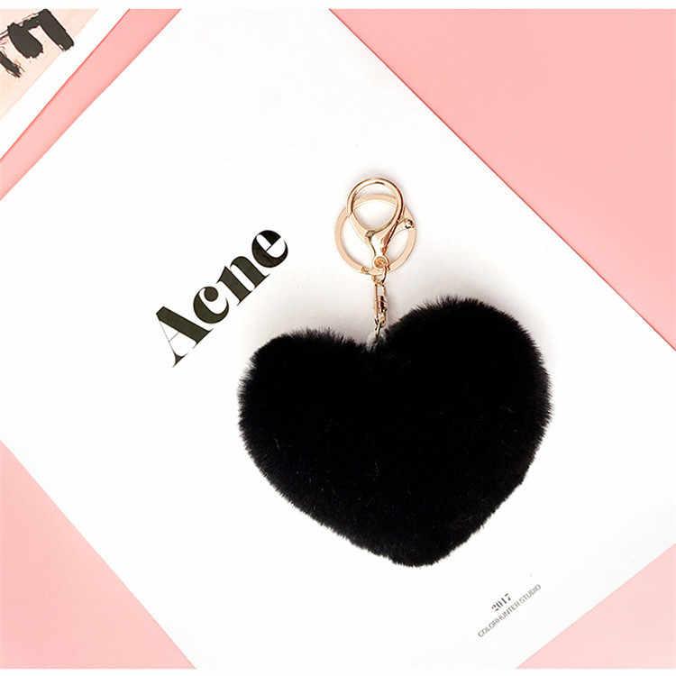 2020 جميل الأرنب الفراء الحب شكل قلب مفتاح سلسلة الموضة أفخم الحلوى الملونة حلقة رئيسية المرأة محفظة اكسسوارات المفاتيح