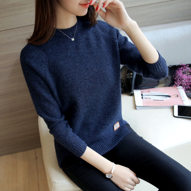 2019 Women Sweaters And Pullovers Autumn Winter Long Sleeve Pull Femme Solid Pullover Female Casual Short Knitted Sweater W1629 4