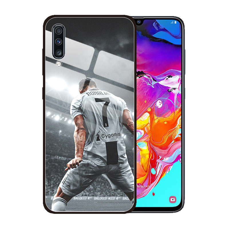for <font><b>Samsung</b></font> Galaxy A10 A20 A20S A30S A50S <font><b>A50</b></font> A30 A10S A70 M30 M40 <font><b>Case</b></font> CR 7 C Ronaldo Fashion Tempered <font><b>Glass</b></font> Cover image